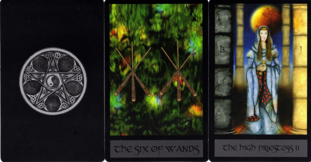 Card back, Six of Wands, II High Priestess